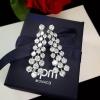 พร้อมส่ง ต่างหูเพชรCZ แท้ เพชรระย้า3แถวดีไซน์รูปดอกไม้เล็กๆ