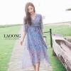ชุดเดรสเกาหลีพร้อมส่ง Dress ตัวยาวสีฟ้าพิมพ์ลายดอกไม้เนื้อผ้าอย่างละเอียด