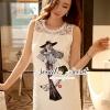 ชุดเดรสเกาหลี พร้อมส่งFashionista Sketchty Print Cami Dress