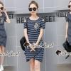 ชุดเดรสเกาหลีพร้อมส่ง Chic Birdy Stick Stripe Dress