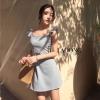 ชุดเดรสเกาหลีพร้อมส่ง Dress สีเทาอมเขียวมาใหม่เลยคะ