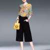 เสื้อผ้าเกาหลีพร้อมส่งชุด Set 2 ชิ้น เสื้อคอกลม แขนระบาย+กางเกงขายาว 9 ส่วน