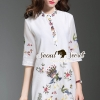 ชุดเดรสเกาหลี พร้อมส่งPeafow Color Stickly Ladiest Nifty Dress