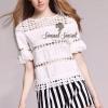 เสื้อผ้าเกาหลี พร้อมส่ง Chic Layer Lace Stripy Pants Set