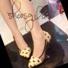 รองเท้าคัชชูหัวแหลม วัสดุหนังกลับรูปตา Style Kenzo ด้านข้างเป็นพลาสติกใสตัดขอบ