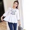 เสื้อผ้าเกาหลีพร้อมส่ง เสื้อคอกลม แขนยาว เนื้อผ้า cotton 100%