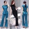 เสื้อผ้าเกาหลี พร้อมส่งเซตดสื้อ+กางเกงสไตล์บูติก จับพลีท