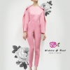 เสื้อผ้าแฟชั่นพร้อมส่ง Jumpsuit จั้มสูทขายาว เนื้อผ้าพื้นสีชมพูนม