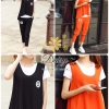 เุสื้อผ้าเกาหลี พร้อมส่งชุดเซทเสื้อกล้าม+เสื้อยืดคอกลม+กางเกง เป็นเซท 3 ชิ้น