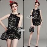 bow irregular pendulum blossom lace top short pants black set