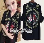 Kate Flower Embroidered Shirt Dress in Black
