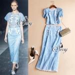 Flora Blue Lace Short Sleeve Blouse With Long Skirt Suit Sets