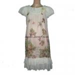 กระโปรงคลุมท้อง (D-112) ผ้าชีฟองลายดอกสีชมพูอ่อน