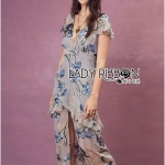 Andy Floral Printed Ruffle Soft Grey Dress