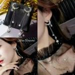 (รัก) Korea Accessories (เพชร)diamond Earring(เพชร) ต่างหูเพชรCZ ( Cubic Zirconia) ต่างหูแฟชั่นเกาหลี ลายพระจันทร์ระย้าห้อยมุกสวยหวาน งานฝังอย่างปราณีต ละเอียดเป๊ะทุกจุด คัดสรรแต่เพชรขาวใสน้ำงามเล่นไฟงานสวยเสมือนเดินออกจากร้านJewelry ➡สินค้าถ่ายจาก