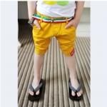 กางเกง3ส่วนสีเหลือง พร้อมเข็มขัด ไซด์ 100-140