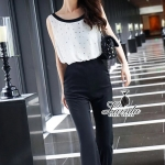 Pearl decorated fragrant waist strap sleeveless Jumpsuit
