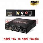 AV video + hdmi to hdmi audio coaxial 720P/1080P converter box