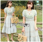 Marie Country Style Embroidered Gingham Dress