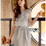 Elizabeth Smart Casual Lace and Checked Cotton Dress with Ribbon
