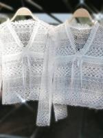 เสื้อลูกไม้ผ้าปัก 3D เนื้อออแกนซ่าซีทรูลายสวย