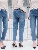 เสื้อผ้าเกาหลีพร้อมส่ง กางเกงยีนส์ทรงบอย เอวไม่สูงไม่ต่ำ