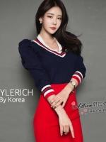 เสื้อแขนยาว สไตล์เกาหลี เนื้อผ้า knit ทอเนื้อดี