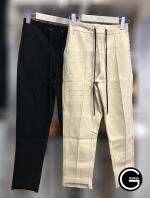 เสื้อผ้าเกาหลีพร้อมส่ง กางเกงขายาวด้านหลังสม๊อคช่วงเอวมีเชือกผูก