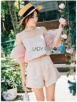 Leslie Color-Blended Pink Off-Shoulder Top and Shorts Set