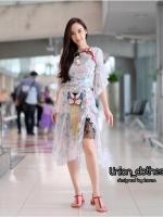 ชุดเดรสเกาหลีพร้อมส่ง Dress Kloset ลายดอกปักนก