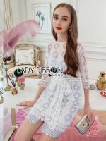 Martha Ivory Lace Dress with Stripes Lining