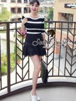 Sexy Show Back Stripy Knit Blouse by Seoul Secret