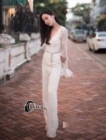 เสื้อผ้าแฟชั่นเกาหลีพร้อมส่ง จั้มสูทสีขาวลุคสาวไฮโซ