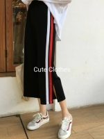 กางเกงขายาว 8 ส่วน ขาหลวมผ่าข้าง