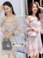 Sleeve Set Work Shirt Pink&Cream Chic Chic Lace Dress