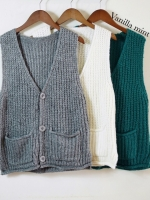 เสื้อผ้าเกาหลีพร้อมส่ง เสื้อกั๊กคอวีแขนกุดแต่งกระเป๋า ใส่ได้ 2 แบบ