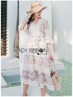 Kristen Ruffle Floral Printed Chiffon and Lace Dress