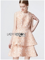 Vanessa Ruffle Layered Peachy Lace Dress