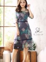 Dress ผ้าซีทรู ปักลายใบไม้เกรดพรีเมียมงานปักเนียบปักปราณีต