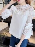 เสื้อผ้าเกาหลีพร้อมส่ง เสื้อคอปีน แขนบาน เนื้อผ้า cotton 100%