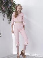 เสื้อผ้าแฟชั่นพร้อมส่ง Pink primrose top & pants
