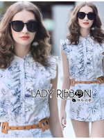 Leslie White & Blue Printed Ruffle Top and Shorts Set