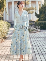 Eva Flower Blossom Printed Baby Blue Maxi Dress
