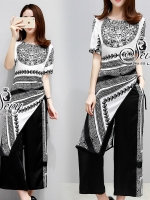 Two Pieces Of Versace Contrast Dress With Pants Sets