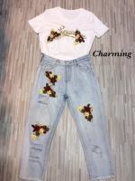 เสื้อผ้าเกาหลีพร้อมส่ง Set of embroidered Floral and jeans