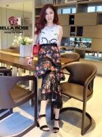 Set เสื้อกล้าม งานปักดอกและพิมลายD&G งานสวย กระโปรงเอวยืดได้