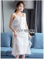 Isabella Summer Beach Embroidered & Laser-Cut White Cotton Dress