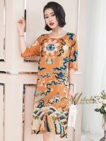 Dress ทรงหน้าสั้นหลังยาว คอกลม แขนสั้น เนื้อผ้า Chiffon ญี่ปุ่น