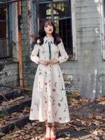 ชุดเดรสเกาหลีพร้อมส่ง Dress ยาว สีครีม สไตล์คุณหนู