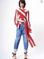 เสื้อผ้าเกาหลีพร้อมส่ง เสื้อแขนยาวลายริ้วใหญ่คอวี